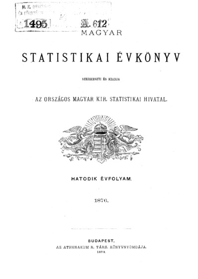 Magyar statistikai évkönyv. 6. évfolyam