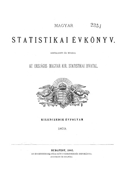 Magyar statistikai évkönyv. 9. évfolyam