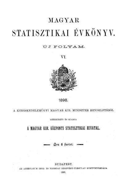 Magyar statisztikai évkönyv 1898. Ú. F. 6.