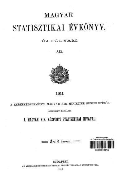 Magyar statisztikai évkönyv 1911. Ú. F. 19.