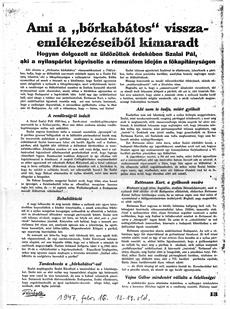 Ami a bőrkabátos visszaemlékezéseiből kimaradt - újságcikk 1947.02.16.