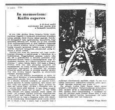 In memoriam: Kálló esperes - újságcikk