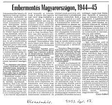 Embermentés Magyarországon, 1944-45 - újságcikk