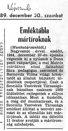 Emléktábla mártíroknak - újságcikk