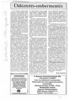 Üldöztetés - embermentés - újságcikk