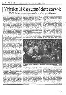 Véletlenül összefonódott sorsok - újságcikk