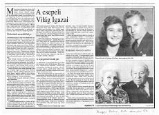 A csepeli Világ Igazai - újságcikk