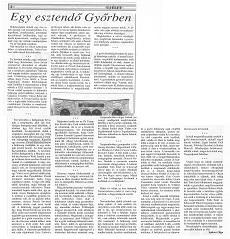 Egy esztendő Győrben - újságcikk