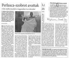 Perlasca - szobrot avattak - újságcikk
