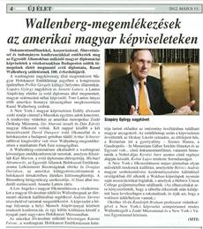 Wallenberg - megemlékezések az amerikai magyar képviseleteken - újságcikk