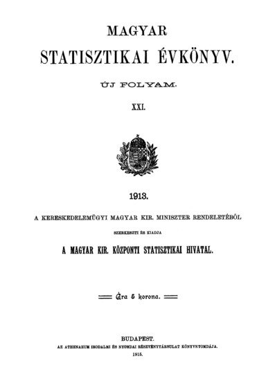 Magyar statisztikai évkönyv 1913. Ú. F. 21.
