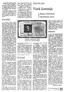 Vizek katonája - újságcikk