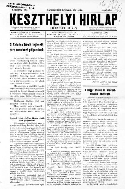 Keszthelyi Hírlap 1912.09.01.