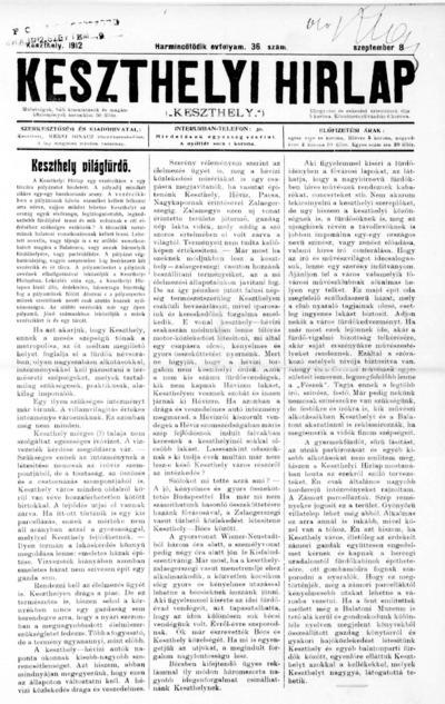 Keszthelyi Hírlap 1912.09.08.