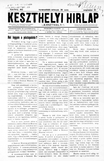 Keszthelyi Hírlap 1912.09.22.