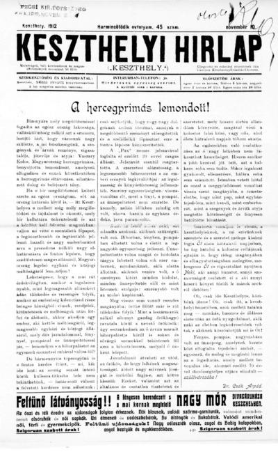Keszthelyi Hírlap 1912.11.10.