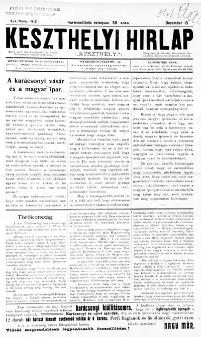 Keszthelyi Hírlap 1912.12.15.