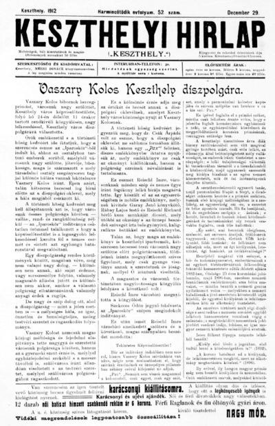 Keszthelyi Hírlap 1912.12.29.