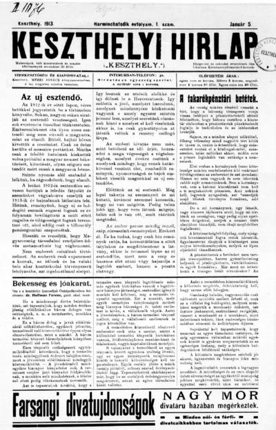 Keszthelyi Hírlap 1913.01.05.