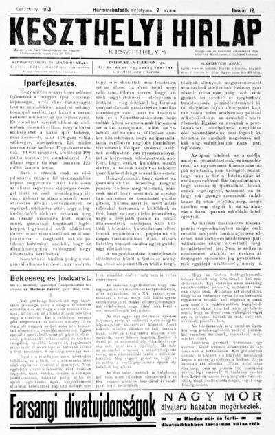 Keszthelyi Hírlap 1913.01.12.