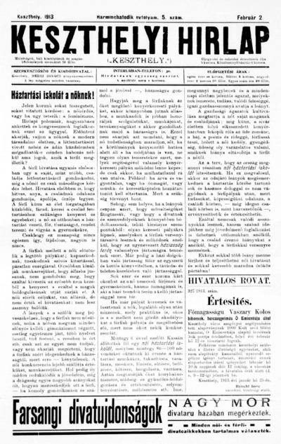 Keszthelyi Hírlap 1913.02.02.