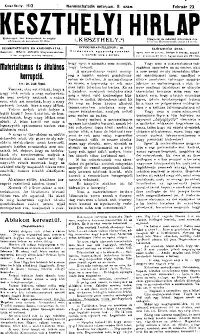 Keszthelyi Hírlap 1913.02.23.