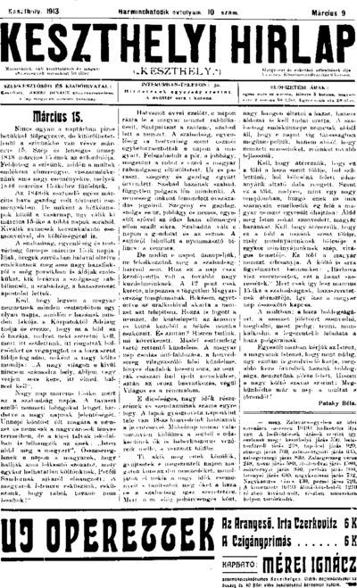 Keszthelyi Hírlap 1913.03.09.