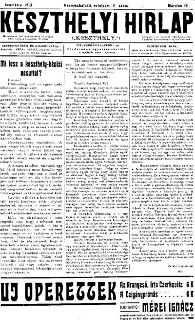 Keszthelyi Hírlap 1913.03.16.