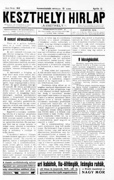 Keszthelyi Hírlap 1913.04.13.