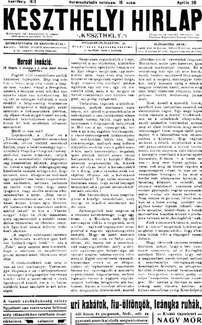 Keszthelyi Hírlap 1913.04.20.