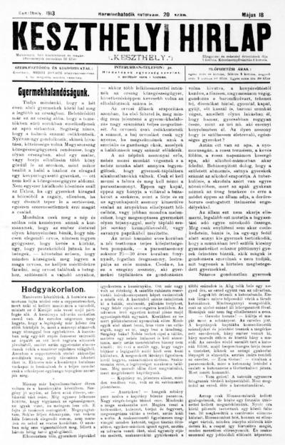 Keszthelyi Hírlap 1913.05.18.