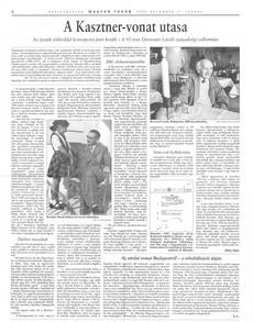 A Kasztner-vonat utasa - újságcikk