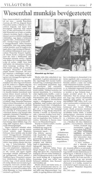 Wiesenthal munkája bevégeztetett - újságcikk