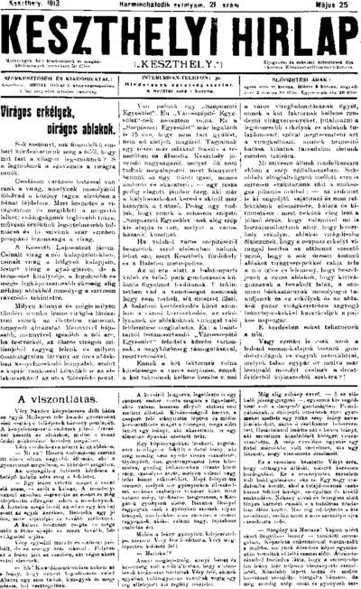 Keszthelyi Hírlap 1913.05.25.