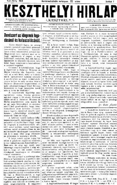Keszthelyi Hírlap 1913.06.01.