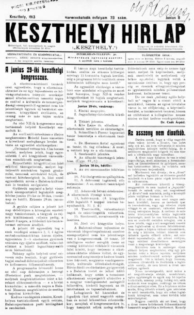 Keszthelyi Hírlap 1913.06.08.