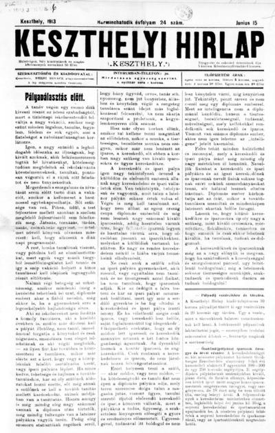 Keszthelyi Hírlap 1913.06.15.