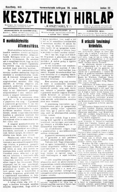 Keszthelyi Hírlap 1913.06.22.