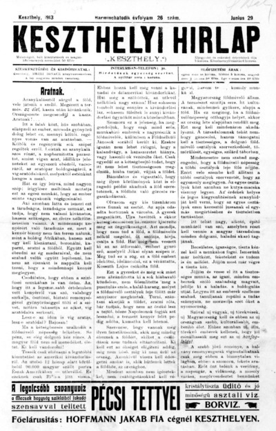 Keszthelyi Hírlap 1913.06.29.