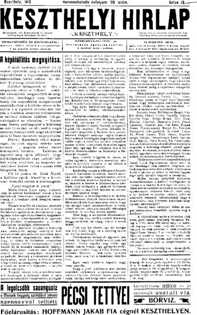 Keszthelyi Hírlap 1913.07.13.