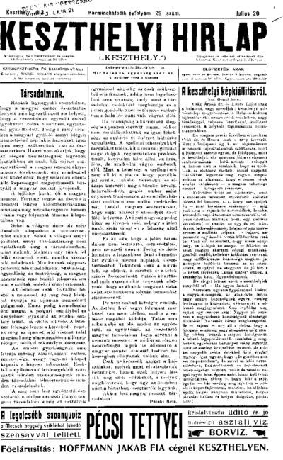 Keszthelyi Hírlap 1913.07.20.