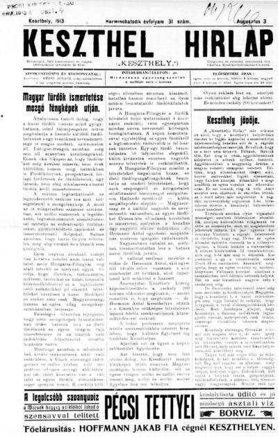 Keszthelyi Hírlap 1913.08.03.