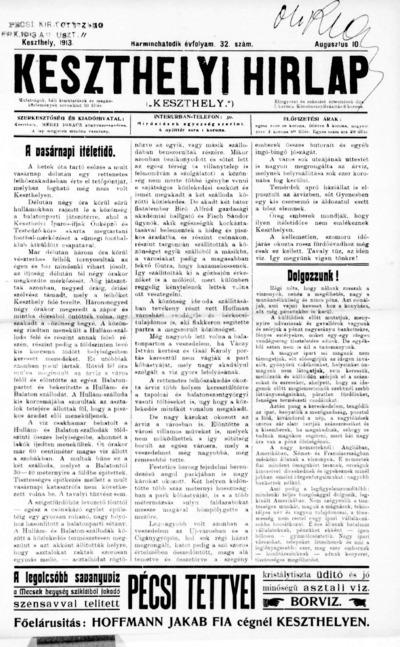 Keszthelyi Hírlap 1913.08.10.