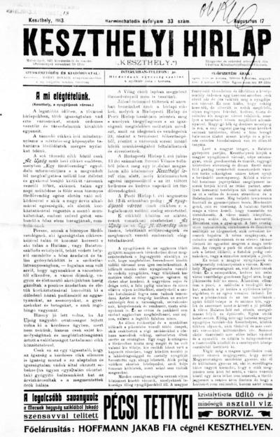 Keszthelyi Hírlap 1913.08.17.