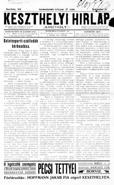 Keszthelyi Hírlap 1913.09.14.