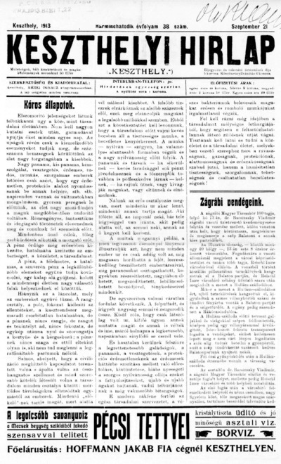 Keszthelyi Hírlap 1913.09.21.