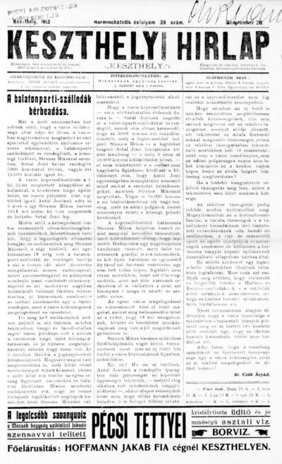 Keszthelyi Hírlap 1913.09.28.