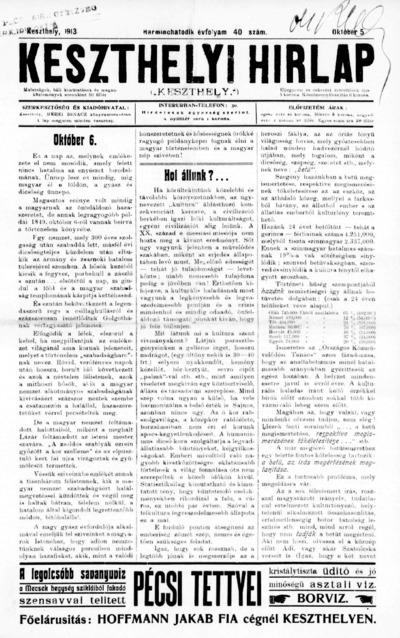 Keszthelyi Hírlap 1913.10.05.
