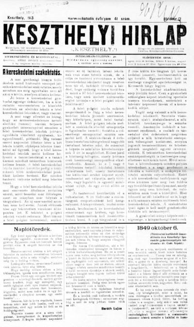 Keszthelyi Hírlap 1913.10.12.