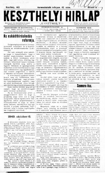 Keszthelyi Hírlap 1913.10.19.